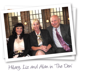 Hilary Devey, Liz and Alan at the Dragons' Den studio